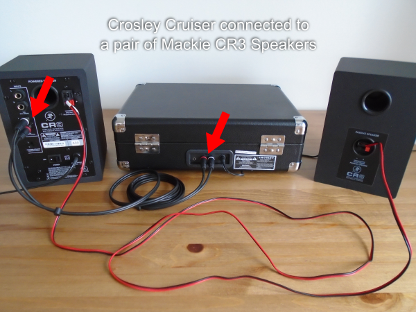 Crosley Cruiser connected to a pair of Mackie CR3 Speakers