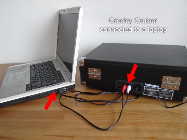 Crosley Cruiser connected to a laptop
